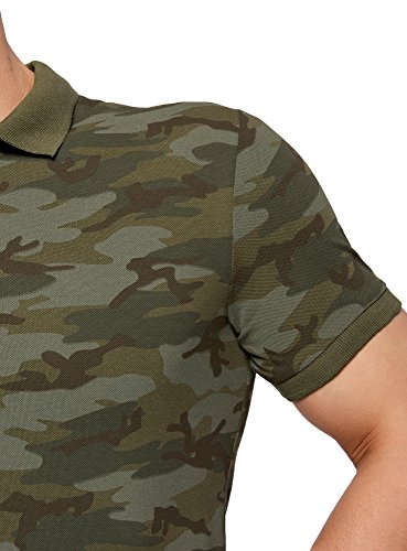 oodji Ultra Herren Bedrucktes Pique-Poloshirt Grün (6662G)