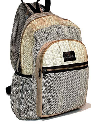 100% Hanf (Unisex Rucksack aus 100% Hanf und natürlicher Baumwolle, Beige)