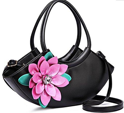 HYLM Art- und Weisedame-Handtaschen-neue Kurier-Beutel-Blumen punktierte Schulter Bagg Black