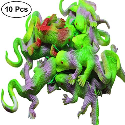 TOYMYTOY 10 stück Chamäleon Spielzeug Gummi Eidechse Figur Kinderspielzeug Witze Insekten Spielzeug für Streich Party (Mischfarbe)