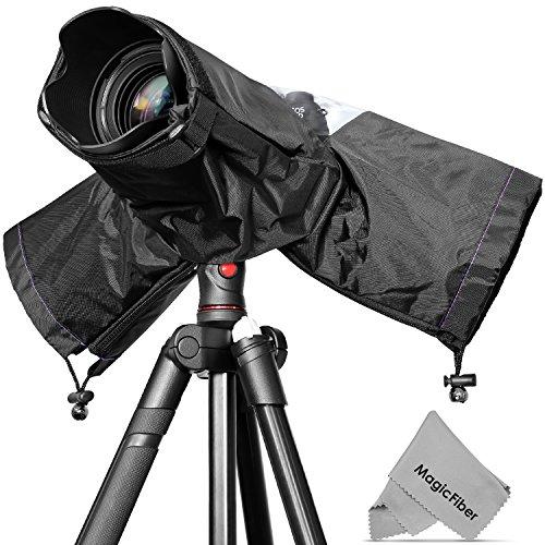 Professional Rain Cover Camera Protector for Large DSLR Cameras (CANON REBEL EOS T3i T2i T1i XT XTi XSi 60D 7D NIKON D7000 D5100 D5000 D3200 D3000 D90 D80) + MagicFiber Microfiber Lens Cleaning Cloth  available at amazon for Rs.2223