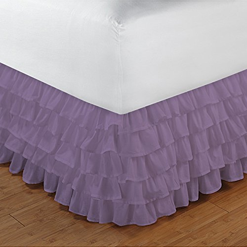 600TC 100% cotone egiziano, finitura elegante 1pcs multi Ruffle Giroletto A Goccia (lunghezza: 25 cm), Cotone, Brick Red Solid, Single_Extra_Long Lilac Solid