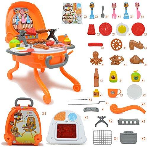 Pawaca Kinder Cosplay BBQ Spielsets, Simulation Kitchen Grill Set (39 Stück), Abnehmbare Tragbare Koffer Kochen Spielzeug für Jungen und Mädchen