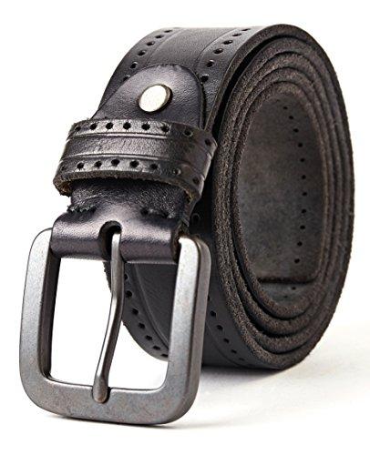 3ZHIYI Vintage Cinturón de piel de 100% búfalo cuero de pantalones vaqueros para hombre