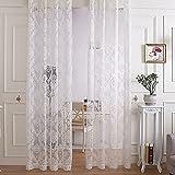 R. lang (2) Slot Top Luxus Design Jacquard Sheer Vorhang 1Paar creme weiß, 149,9 cm (Breite) x 228,6 cm (Länge)