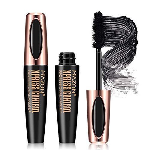 4D Faser Mascara Kit, Mascara Cream Wimperntusche mit Silk Fiber Wasserdicht Natürliche Wimpernverlängerung Mascara Eye Black Mascara (Schwarz, 2 pcs)