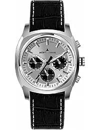 Jacques Lemans Panama - Reloj cronógrafo de caballero de cuarzo con correa de piel negra (