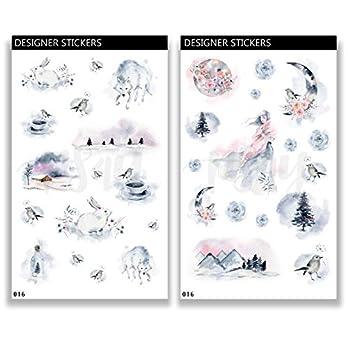 Deko Aufkleber – handgezeichnet – Thema Winter Wonderland – Planner Stickers 016