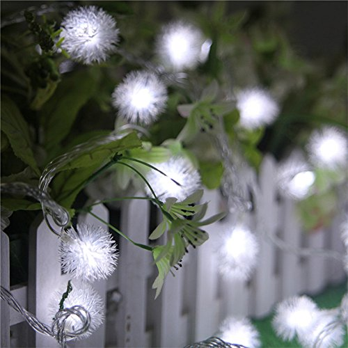 Prevently Löwenzahn LED-Lichterkette Mit Blitzbatterie IP44 wasserdicht 20LEDs Fairy String Licht Vorhang Lampe Party Hochzeit Outdoor-Dekor 2,5 Meter (White) - Fairy Lichter Outdoor-string
