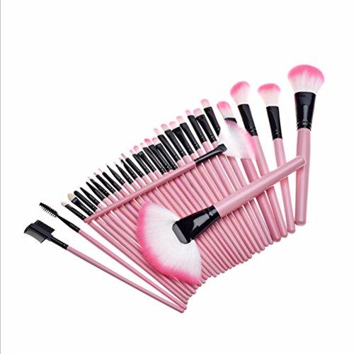 Frcolor 32pcs Kit maquillage professionnel pinceaux poudre applicateur plastique confortable poignées pour Fondation Blush Eye visage liquide poudre crème cosmétique brosses (rose) à tamponner