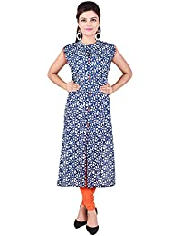 Vaachi Pure Cotton Long Straight Office Wear Casual Wear Kurti For Girls And Women With Pockets