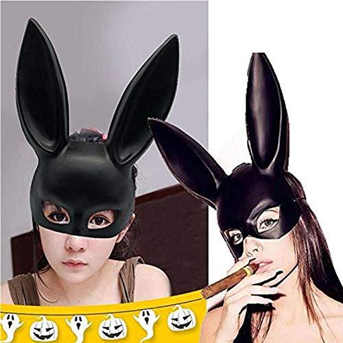 Kostüm Deluxe Häschen - zhaokai Kaninchen Maske Erwachsene Bunny Maske Kaninchen Tiermaske Frauen Masquerade Kaninchen Maske Halloween Cosplay Requisitenblack