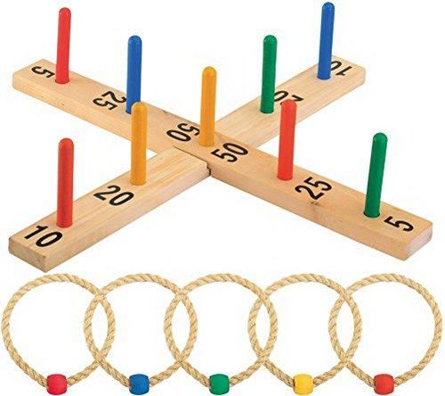 Outdoor active Ringwurfspiel aus Holz inklusive 5 Wurfringen, 1 Stück