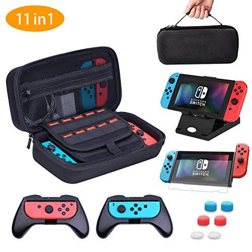 HEYSTOP Étui pour Nintendo Switch, 11 en 1 Étui de Transport pour Nintendo Switch, 2X Grip pour...