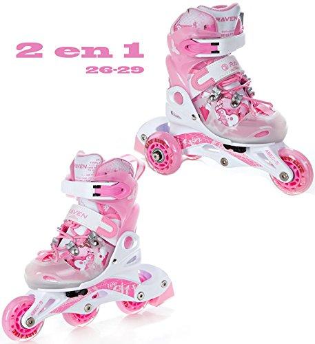 2in1 Kinder Inline Skates Triskates/Rollschuhe Raven Princess Größe: 26-29 (16cm-18cm)