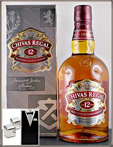 Chivas Regal 12 Jahre Scotch Whisky mit 2 Original Edelstahl Kühlsteine im Smoking, kostenloser Versand -