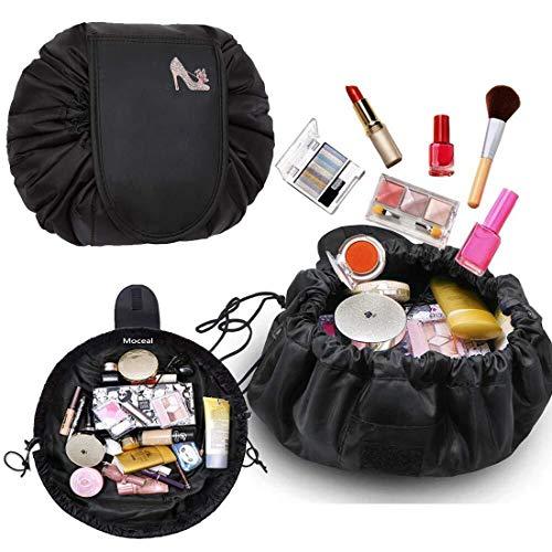 Kosmetiktasche, Moceal Schminktasche, One-Step Organizer MakeUp Tasche Kosmetikbeutel für Lazy Damen (Schwarz + Anhänger) (Schwarz) - Make-up Tasche Organizer