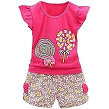 Conjunto Niñas, 2PCS Niño Bebés Trajes Lolly Camiseta Tops + Pantalones Cortos Ropa