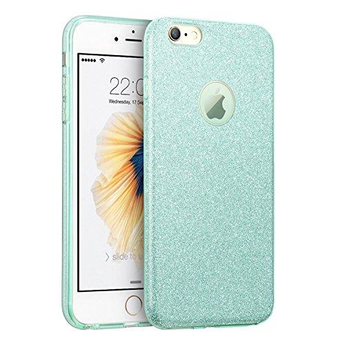 Coque iPhone 6/6S ,Vanki® Housse Ultra Mince Soft TPU Frame Shock-Absorption avec Anti-rayures Case Cover Sparkle Paillette Etui Premium Coque pour Apple iPhone 6/6S Vert