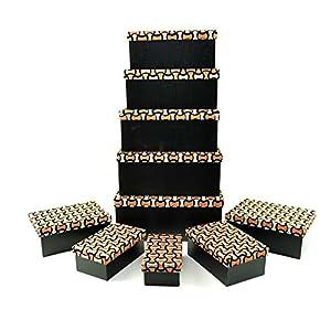 Gifts 4 All Occasions Limited SHATCHI-1298 - Cajas de almacenamiento con tapa de Shatchi para decoración del hogar, regalos de Navidad, suministros para fiestas 11677, multicolor