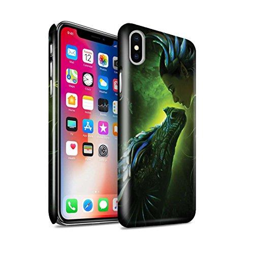 Offiziell Elena Dudina Hülle / Glanz Snap-On Case für Apple iPhone X/10 / Grünen Schuppen Muster / Drachen Reptil Kollektion Grünen Schuppen