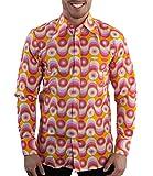 70er Jahre Party Hemd Waves Pink, Pink gelb, L
