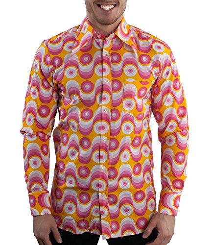 70er Jahre Party Hemd Waves Pink, Pink gelb, M (70er Der Disco Jahre)