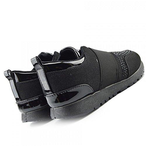 Kick Footwear - Donna Formatori Occasionali Sneakers Glitter Luccicanti Di Pompe Di Lacci Di Scarpe Nero Splendere