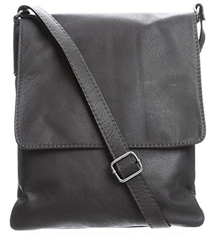 BHBS Damen Cross-Body-Tasche Mit Echtem Weichem Leder 23 x 26 cm (B x H) Dark Grey (ST401)