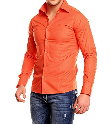 Chemise manches longues unie homme Coupe slim fit Business Orange