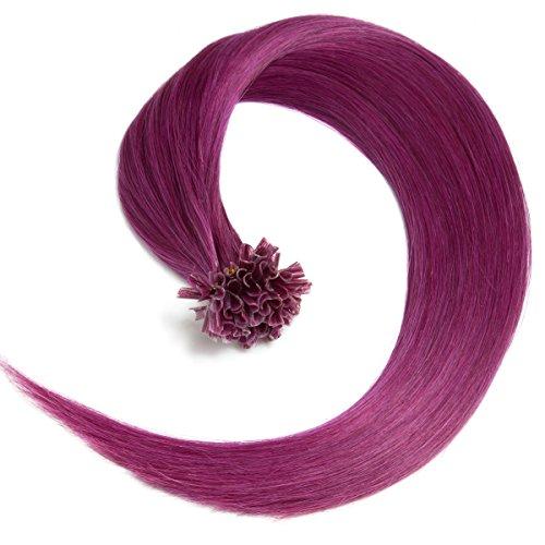 Violette Bonding Extensions aus 100% Remy Echthaar - 25 x 0,5g 45cm Glatte Strähnen - Lange Haare mit Keratin Bondings U-Tip als Haarverlängerung und Haarverdichtung in der Farbe violet (Violett Dunkel Blond)