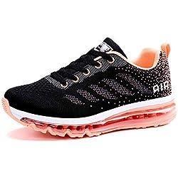 Smarten Zapatillas de Running Hombre Mujer Air Correr Deportes Calzado Verano Comodos Zapatillas Sport Black Pink 38 EU