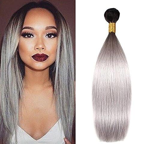 Mufly Tissage Extensions Cheveux de Perruque Brésilien Droit Liasses Cheveux Humains 100% Noir/Gris(12