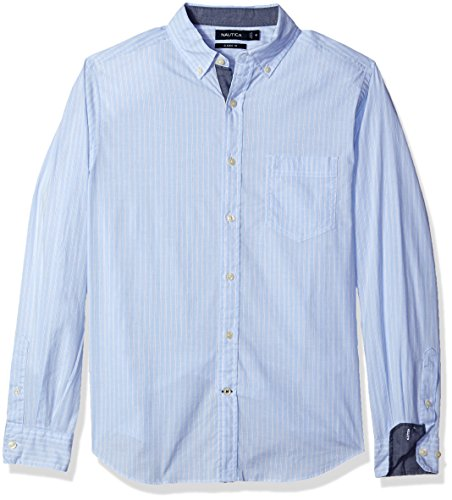 Nautica Men's Classic Fit Stretch Striped Long Sleeve Button Down Shirt, Coastal Sky, Medium