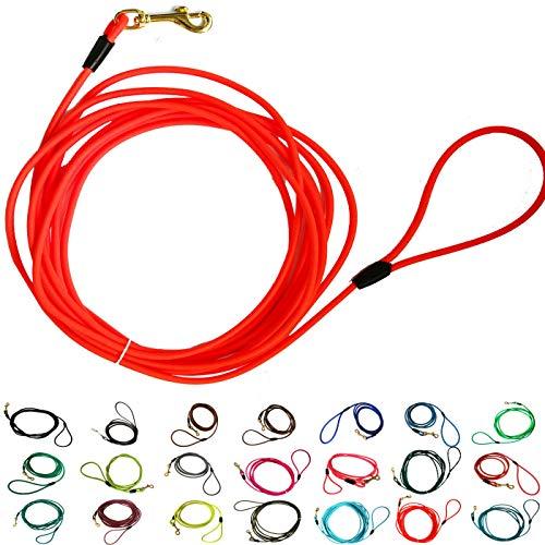bio-leine Schleppleine aus runder Biothane | 3-20 Meter Länge | 20 Farben, Ø 6 mm, für kleine und große Hunde, schmutz- und Wasserabweisende Hundeleine Schleppleinen, 15 Meter - Neon-Orange