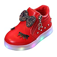 Deloito Toddler Kids Luminous Sneakers, Baby Boys Girls Light up Trainers Big Kids Unisex LED Light Up Children Trainers Shoes(Red,UK:5;Age:18-24M)