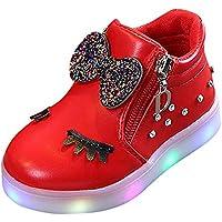 Zapatos De Bebé NiñO NiñA,ZARLLE Led Luz Luminosas Flash Zapatos Zapatillas De Deporte Zapatos De Bebé Antideslizante Botas NiñA Flor Cristal Zapatos Con Cremallera