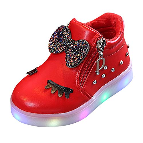 Fenverk Kinder Bunt Licht Schuhe Kleinkind Baby Jungs MäDchen Star Leuchtend Stiefel Oben Led Sneaker Sportlich Weich Draussen Sport Turnschuhe(Rot,26 EU)