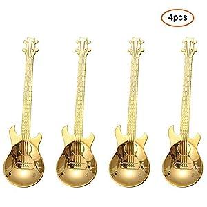 FOONEE chitarra cucchiaio in acciaio INOX, musical caffè cucchiaio gelato cucchiaini da tavola,7colori Gold