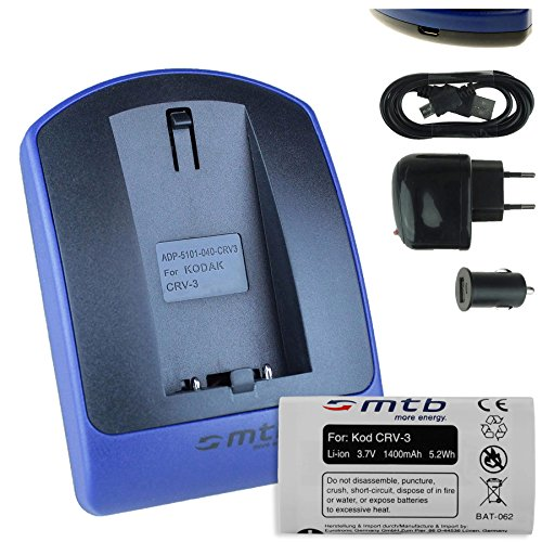 Akku + Ladegerät (Netz+Kfz+USB) für CR-V3 / Kodak, Olympus, Pentax, Samsung, Sigma, Toshiba. Siehe Liste (Usb Kabel Für Nikon Coolpix L30)