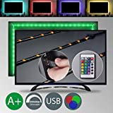 TV LED illuminazione – LED Stripe – LED Band dimmerabile autoadesivo 2 m 48 X RGB USB telecomando IP20 TV retroilluminazione Stripes nastri di luce luce di striscia di nastro luce freno