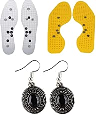 Box On Magic Pain Relief Acupressure Magnetic Shoe Sole+One Pair Ear Ring Set-Yellow+White-25