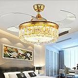 modernen europäischen Stil kreative Crystal LED Licht dreifarbig, Invisible Hängeleuchte Ventilatoren, Wohnzimmer, Restaurant, Schlafzimmer, Umwandlung von Prozessor-Lüfter Sechs