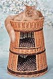 Runde Katzenhütte in Naturfarbe, Katzenkorb aus Weide, Korb für die Katze mit drei Etagen, Katzenlager mit Kissen, Katzenturm