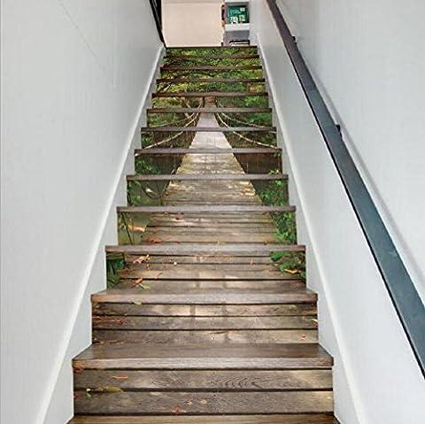 KKLOVEJ 3D Landschaft Aufkleber Wasserdichte Wand Dekoration Aufhebung Brücke Treppe Aufkleber HD Wandmalerei
