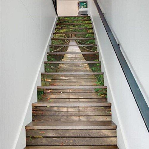 Preisvergleich Produktbild KKLOVEJ 3D Landschaft Aufkleber Wasserdichte Wand Dekoration Aufhebung Brücke Treppe Aufkleber HD Wandmalerei