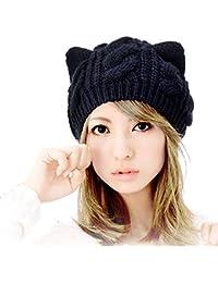 Tuopuda Crochet Invierno Beanie Gato Gorro de Punto Caliente Cozy Mujeres  Grande Sombrero Moda Diseño de 02ac715f675
