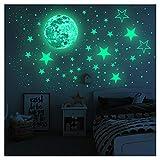 Glow in The Dark Stars Muurstickers, Sterren en Volle Maan voor Sterrenhemel, 437 Glanzende Decoratie voor Meisjes en Jongens Decor Muurstickers