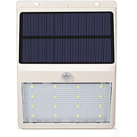 Lámpara LED GrandBeing Aplique 16 LED de Pared con Panel Solar, Luz Solar de Exterior con Sensor de Movimiento, Impermeabilidad y Refractario para Jartín, Patio, Camino de Entrada, Escaleras (Blanco)