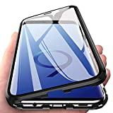 EabHulie Galaxy S9 Hülle, Vollbildabdeckung Gehärtetem Glas mit Magnetischer Adsorptionskasten Metall Rahmen 360 Grad Komplett Schutzhülle für Samsung Galaxy S9 Schwarz